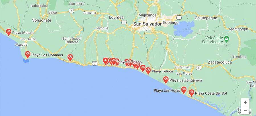 Mapa de las playas de El Salvador