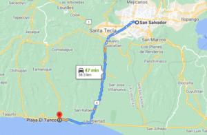 como llegar a la Playa El Tunco